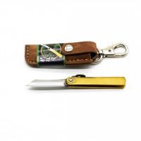 Нож складной Nagao Higonokami, Mame Miniature, SK5 steel, Brass, 40mm (Коричневый чехол)