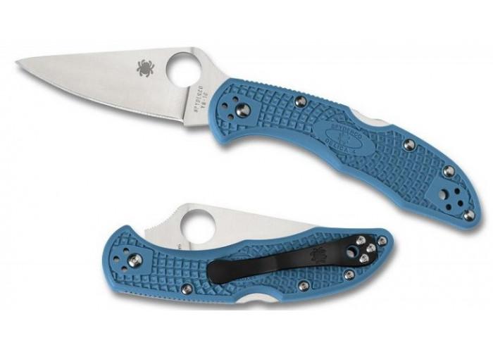 Складной нож Spyderco Delica 4, Flat Ground, VG10 Satin Plain Blade, Blue FRN Handles