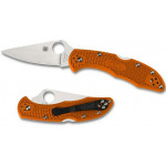 Складной нож Spyderco Delica 4, Flat Ground, VG10 Satin Plain Blade, Orange FRN Handles