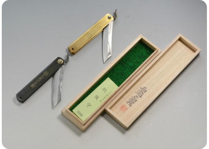 Нож складной Nagao Higonokami, Damascus hand forging, Aogami (Blue Sleel), Brass, 80mm