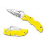 Spyderco Ladybug 3, Yellow FRN handle, H1 Steel, Full Serrated
