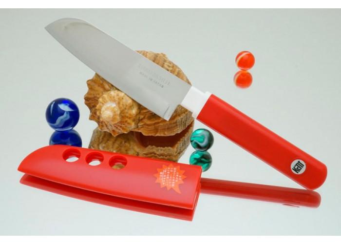 Кухонный нож Tojiro FK Santoku 105mm (красная рукоятка)