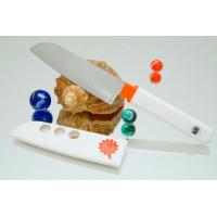 Кухонный нож Tojiro FK Santoku 105mm (белая рукоятка)
