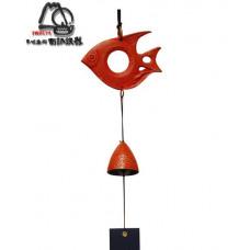 Фурин IWACHU Рыбка и колокольчик (красный)